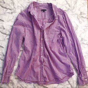 GAP Purple Gingham Button Up